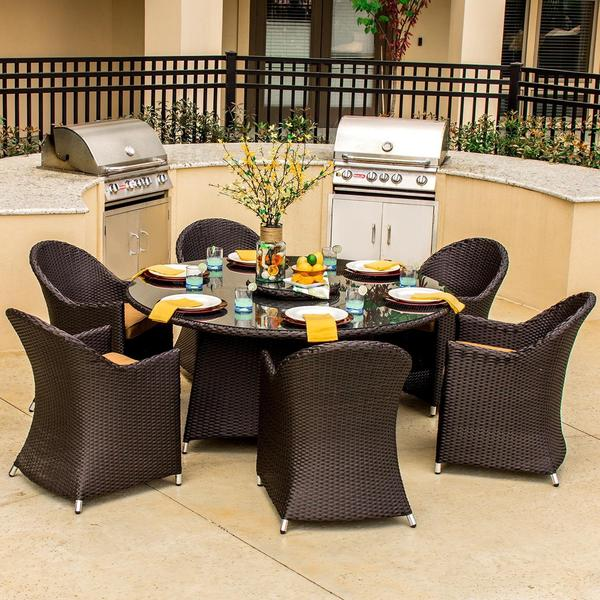 Lakeview Outdoor Designs Providence 6-person Resin Wicker Patio Dining Set with Lazy Susan