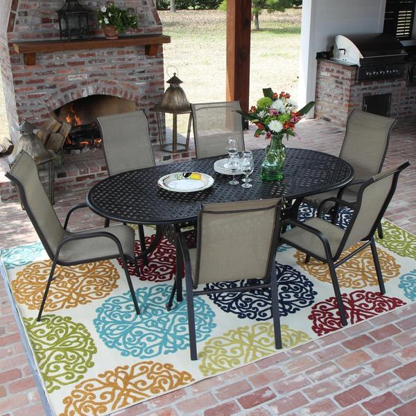 Madison Bay 6 Person Sling Patio Dining Set With Stacking