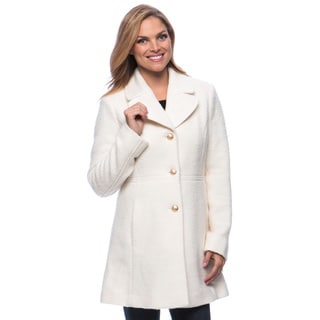 Jessica Simpson Women's Singlebreasted Button Front Boucle Coat