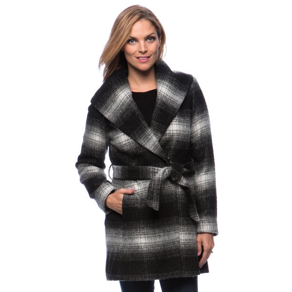 Jessica Simpson Women's Brushed Plaid Wool Wrap Coat