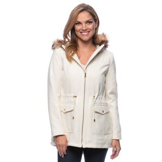 Jessica Simpson Women's Wool Faux Fur Hooded Anorak