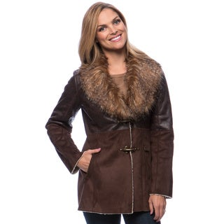 Jessica Simpson Women's Faux Fur Toggle Closure Shearling Coat