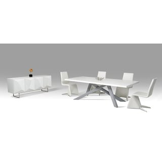 Modrest Vanguard Modern Small White and Grey Dining Table