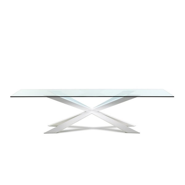 Modrest Xavier Modern Small Clear Glass Dining Table