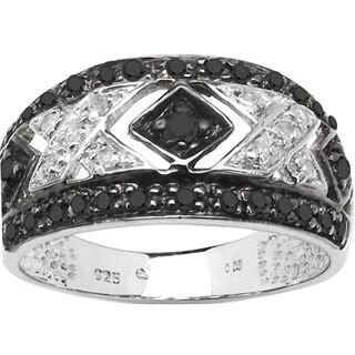 Malaika Sterling Silver 1/3ct TDW Black and White Diamond Ring (I-J, I1-I2)