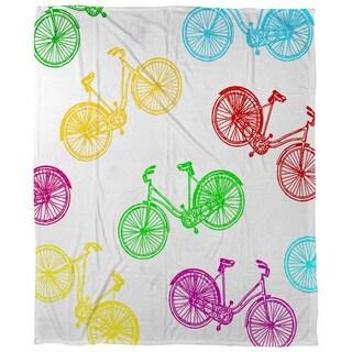 Thumbprintz Neon Party Bike Pattern Coral Fleece Throw