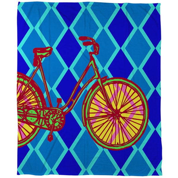 Thumbprintz Neon Party Bike Coral Fleece Throw