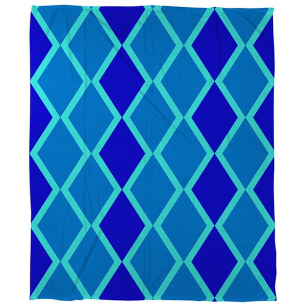 Thumbprintz Neon Party Blue Geo Pattern Coral Fleece Throw