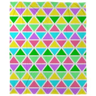 Thumbprintz Neon Party Geo Pattern Coral Fleece Throw