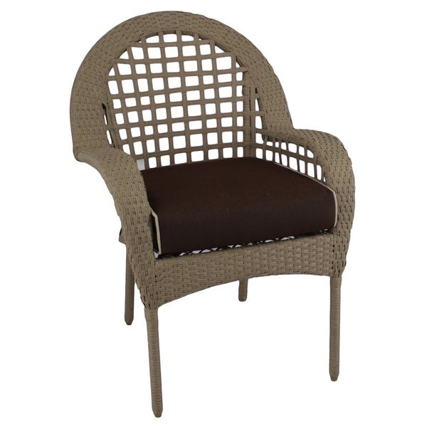 Somette Sierra Outdoor Wicker Dining Chair with Brown Cushion