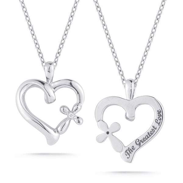 Sterling Silver Diamond Accent 'The Greatest Love' Heart Necklace