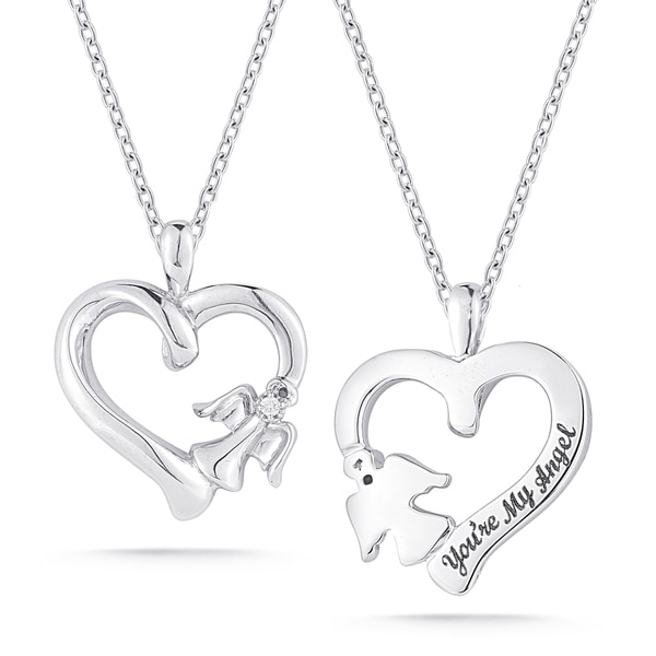 Sterling Silver Diamond Accent 'You're My Angel' Heart Necklace