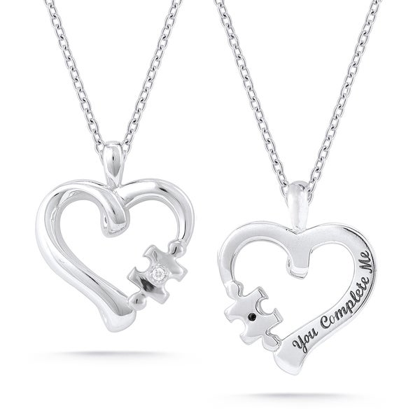 Sterling Silver Diamond Accent 'You Complete Me' Heart Necklace
