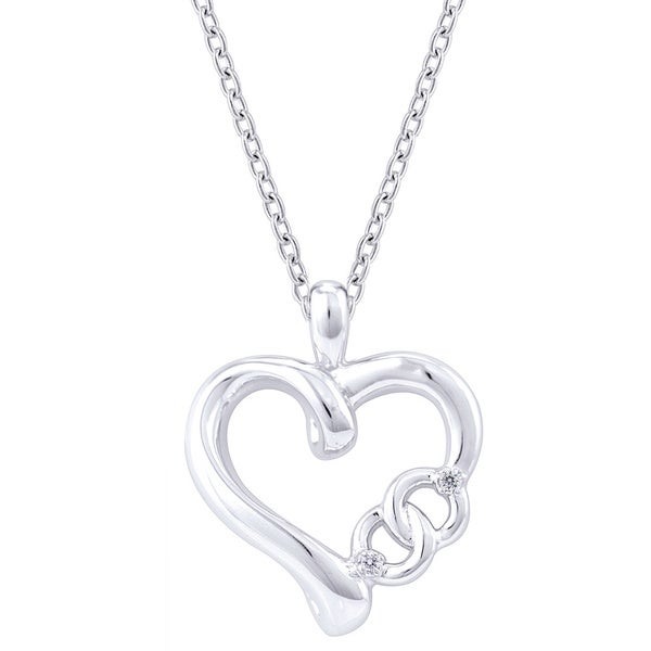 Sterling Silver Diamond Accent 'Together Forever' Heart Necklace