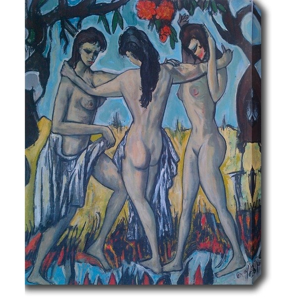 'Nude Girls' Oil on Canvas Art 15256070