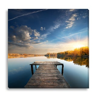 Givaga 'Pier on a Calm River' Oversized Gallery Wrapped Canvas