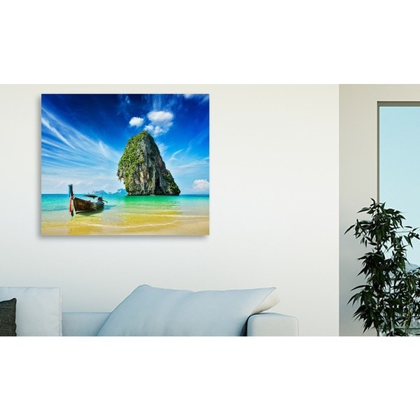 f9photos 'Long tail boat on beach, Thailand' Oversized Gallery Wrapped Canvas
