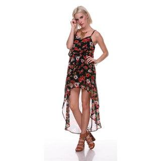 Stanzino Women's High-low Floral Chiffon Dress