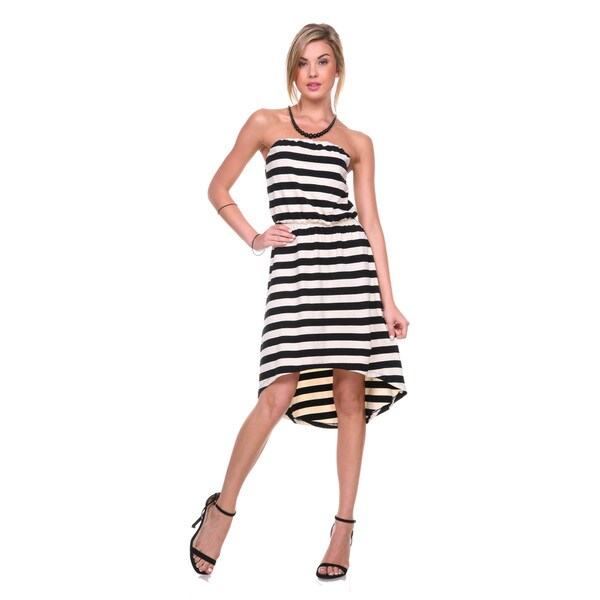 Stanzino Women's Strapless Asymmetric Hem Striped Dress