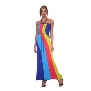 Stanzino Women's Colorblock Maxi Dress with Waist Tie