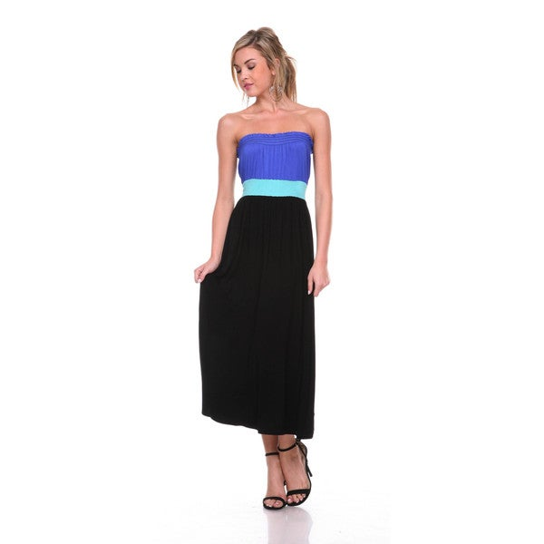 Stanzino Women's Colorblock Strapless Midi Dress