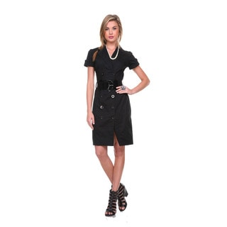 Stanzino Women's Short Sleeve Belted Trench Dress