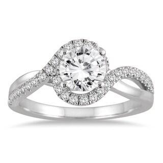 14k White Gold 1 1/6c TDW Diamond Halo Engagement Ring (I-J, I2-I3)