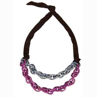 Faire Collection Dual Tagua Link Necklace in Periwinkle (Ecuador)