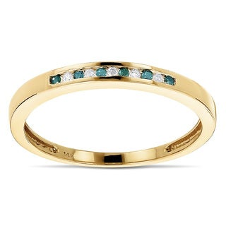 Luxurman 14k Gold 1/8ct TDW White and Blue Diamond Thin Band (H-I SI1-SI2)