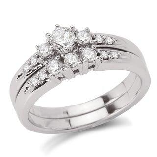 Avanti 14k White Gold 1/2ct TDW Diamond 3-stone Bridal Ring Set (G-H, SI1-SI2)