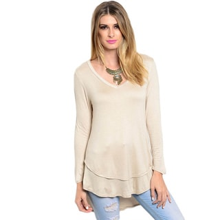 Shop The Trends Women's Long Sleeve Knit Double Layered Hi-Low Top