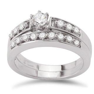 Avanti 14k White Gold 1/2ct TDW Diamond Classic Bridal Ring Set (G-H, SI1-SI2)