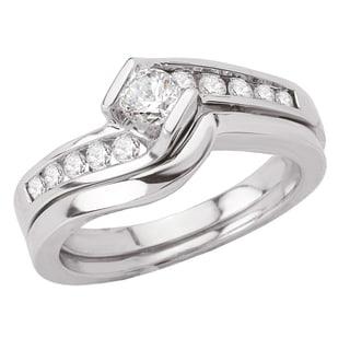 Avanti 14k White Gold 1/2ct TDW Diamond Bypass Channel Set Bridal Ring Set (G-H, SI1-SI2)