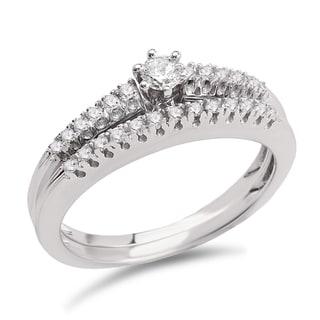 Avanti 14k White Gold 1/4ct TDW Diamond Classic Bridal Ring Set (G-H, SI1-SI2)