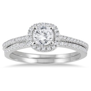 14k White Gold 7/8ct TDW Halo Diamond Bridal Set (I-J, I1-I2)
