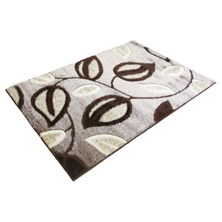 LYKE Home Rya Extra Plush Brown Leaf Area Rug (5' x 8')