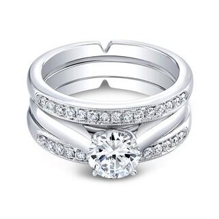 18k White Gold Triple Cathedral 3/8ct TDW Diamond and Cubic Zirconia Bridal Ring Set (H-I, I1-I2)