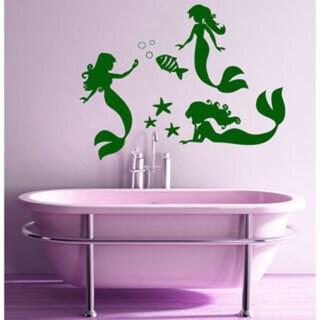 Mermaids Bathroom Black Sticker Vinyl Wall Art