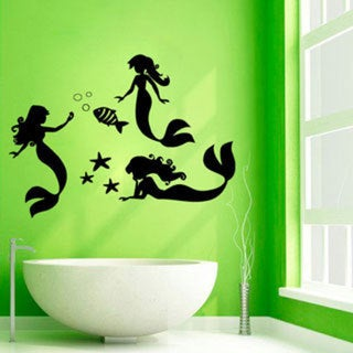 Mermaids Bathroom Black Vinyl Sticker Wall Art