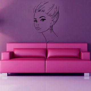 Girl Face Beauty Spa Hair Salon Decor Black Sticker Vinyl Wall Art 15260069