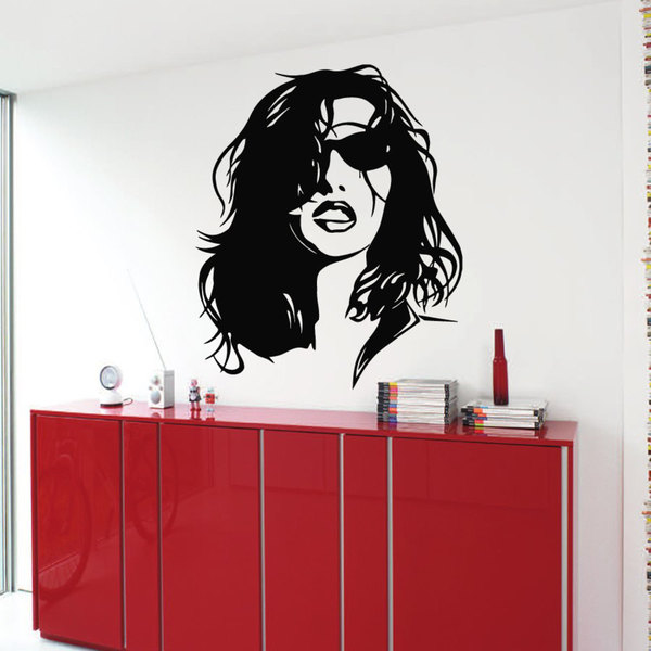 Woman Sexy Face Black Beauty Spa Hair Salon Decor Sticker Vinyl Wall Art 15260080