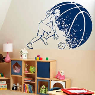 Basketball Girl Player Blue Sticker Vinyl Wall Art