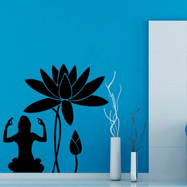 Yoga Meditation Lotus Flower Black Vinyl Sticker Wall Art