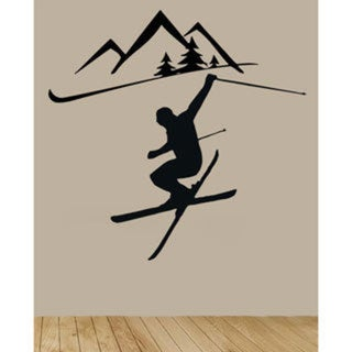 Ski Skiing Insporational Black Sticker Vinyl Wall Art