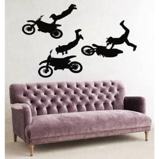 Moto Trial Motocross Dirt Bike Black Sticker Vinyl Wall Art