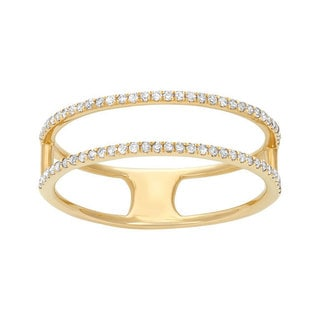 14k Yellow Gold 1/4ct TDW Diamond 2-row Stackable Ring (G-H, I1-I2)
