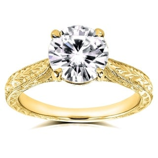 Annello 14k Yellow Gold 1 1/2ct TGW Moissanite and Diamond Accent Antique Engraved Engagement Ring (G-H, I1-I2)