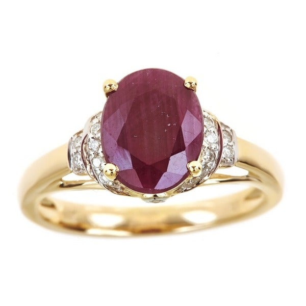 Anika and August 14k Yellow Gold Oval Ruby and 1/9ct TDW Diamond Ring