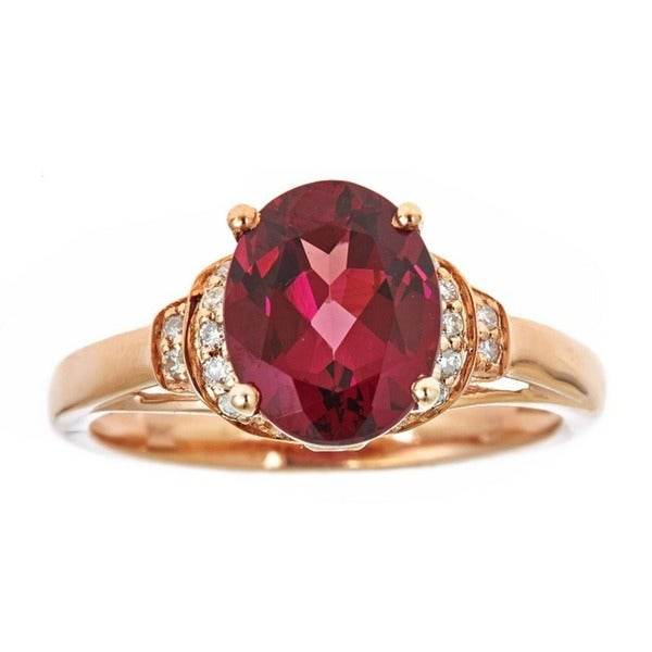 Anika and August 14k Rose Gold Oval-cut Rodholite and 1/9ct TDW Diamond Ring (G-H, I1-I2)