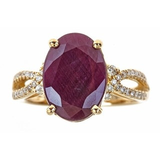 Anika and August 14k Gold Oval-cut Ruby and 1/4ct TDW Diamond Ring (G-H, I1-I2)